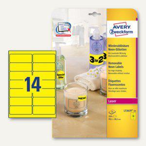 Zweckform Neon-Etiketten, wiederablösbar, 99.1 x 38.1mm, gelb, 350St., L7263Y-25 - Vorschau