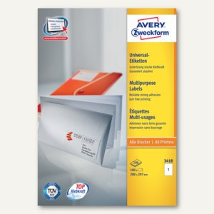 Avery Zweckform Universal-Etiketten, 200 x 297 mm, Rand, weiß, 100 Stück, 3418