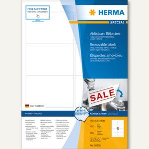 Herma Etiketten Movables, 96 x 63.5 mm, ablösbar, weiß, 800 Stück, 10308