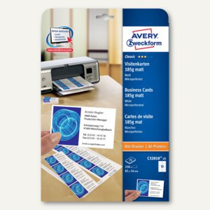 Visitenkarten CLASSIC, 85 x 54 mm, 185g/m², matt, beidseitig, 250 Karten