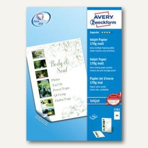 Superior Inkjetpapier, DIN A4, 2-seitig matt, 170g/m², weiß, 100 Blatt, 2583