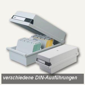 HAN Karteikasten DIN A4 quer für 1.300 Karten, Deckel abnehmbar, grau, 954-11