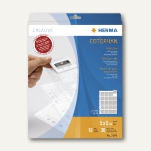Herma Diahüllen für KB-Dias m. dünnen Rähmchen 5x5, klar/matt, 30 St., 7698