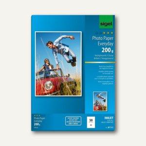 """Sigel Fotopapier """" Everyday"""", DIN A4, hochglänzend, 200 g/m², 50 Bl., IP711"""