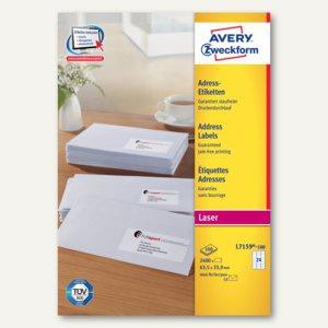 Zweckform Adress-Etiketten für DIN C6, 63.5 x 33.9 mm, 2.400 Stück, L7159-100