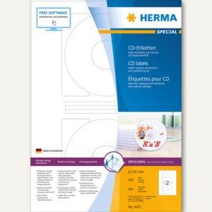 CD-Etiketten, Ø 116 mm (Innenloch 41 mm), blickdicht, matt, weiß, 200 Stück