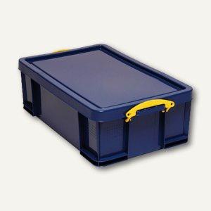 Aufbewahrungsbox - 50 Liter, 700 x 440 x 230 mm, Deckel & Griffe, PP, blau, 50B