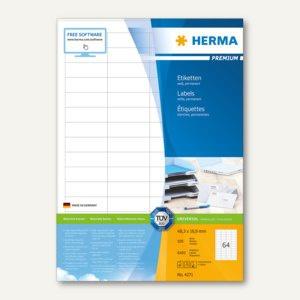 Etiketten PREMIUM A4, 48.3 x 16.9 mm, matt weiß, 6.400 St. / 100 Blatt, 4271