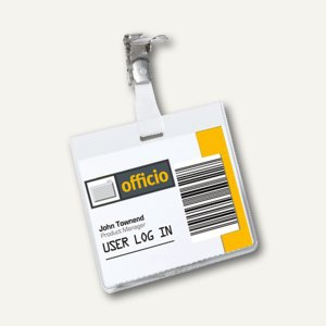 Durable Namensschild mit Clip, 90 x 60mm, transparent, 5 Stück, 8603-19