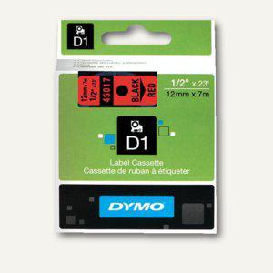 Dymo D1 Etikettenband, 12 mm x 7 m, schwarz auf rot, S0720570 - Vorschau