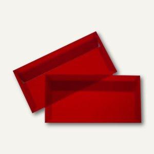 Briefumschlag DIN lang, haftklebend, 100 g/m², transparent-rot, 100 St.