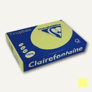 "Clairefontaine Papier "" Trophee"", DIN A4, 160 g/qm, hellgelb, 250 Blatt, 1023C"