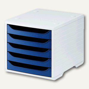 officio Bürobox mit 5 Schubladen, Auszugssperre, grau/blau - Vorschau