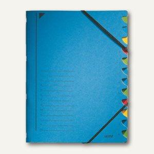 LEITZ Ordnungsmappe DIN A4, Gummiband, Fächer 1-12, blau, 3912-00-35
