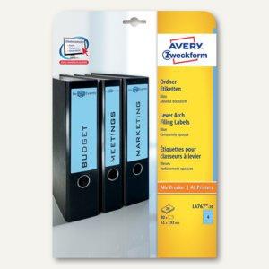Zweckform Ordner-Etiketten, breit/kurz, blau, 80 Stück, L4767-20 - Vorschau