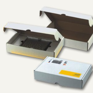 Deckelbox mit Verschlussklappen DIN A4, 310 x 220 x 42 mm, weiß, 100 Stück