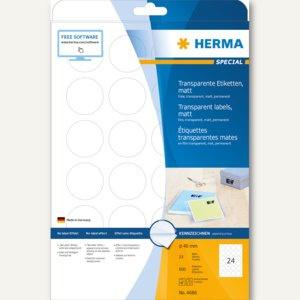 Herma Transparente Folien-Etiketten, Ø 40 mm rund, matt, 600 Stück, 4686