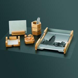 Rumold Schreibtisch-Set 5-teilig, 5 Teile Naturholz/Edelstahl, 965700