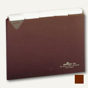 Durable Leitkarten, DIN A5 quer, Kunststoff, Teilung 5/5, braun, 25 St., 3151-11