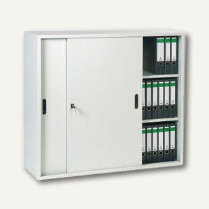 officio Schiebetürenschrank, 120x109x42 cm, 2 Böden, lichtgrau, STS03G