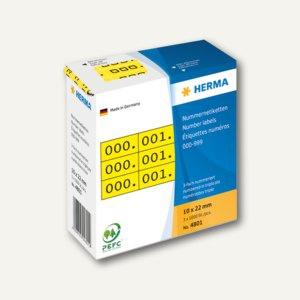 Herma Nummernetiketten, 10 x 22 mm, 3-fach, selbstklebend, gelb/schwarz, 4801