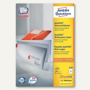 Avery Zweckform Universal-Etiketten, 97 x 42.3 mm, Rand, weiß, 1.200 Stück, 3659