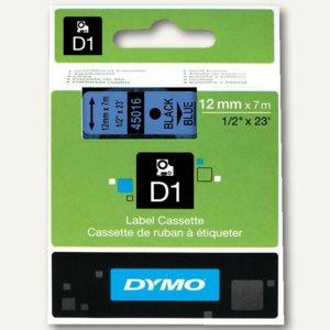 Dymo D1 Etikettenband, 12 mm x 7 m, schwarz auf blau, S0720560/45016