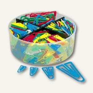 Büroklammern Kunststoffklips, Set mit 4 Größen, farbig sortiert, 650 Stück