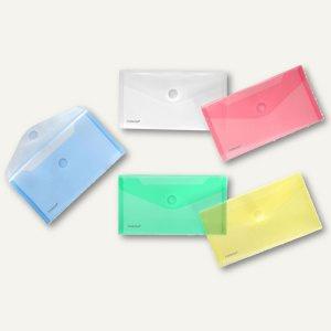 Dokumententaschen, DIN lang, Klett, farbig sortiert, 100 St., 40103-94-010