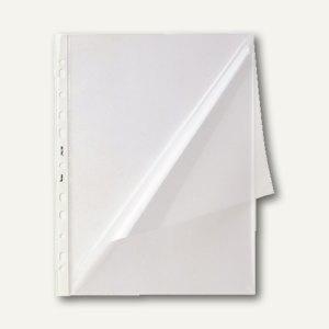 Prospekthüllen DIN A4, 100my, mit Lochrand, glasklar, oben+seitl. offen, 100 St.