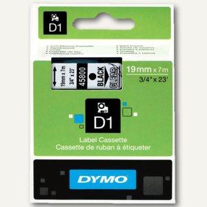 Dymo D1 Etikettenband, 19 mm x 7 m, schwarz auf transparent, S0720820