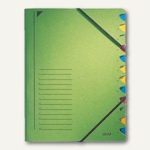LEITZ Ordnungsmappe DIN A4, Gummiband, Fächer 1-12, grün, 3912-00-55