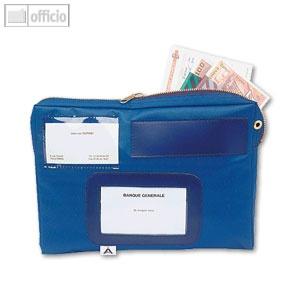 Mehrweg-Versandtasche, wasserfestes Nylon, 27 x 18.5 x 4 cm, Adressfenster, blau - Vorschau