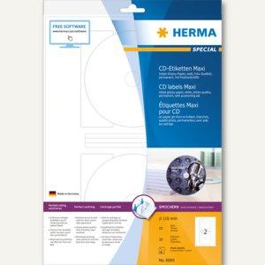 Herma CD-Etiketten, Glossy Maxi, weiß, ø 116, InkPrint Special, 20 St., 8885