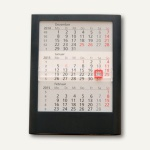 3-Monats-Tischaufstellkalender - 12.5 x 16 x 1.4 cm, für 2 Jahre, schwarz, 5035