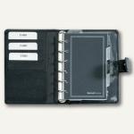 Systemplaner DIN A7, Kalender 1 Woche/2 Seiten, Nappaleder, Druckknopf, schwarz
