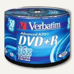 Verbatim DVD+R Rohlinge, 4.7 GB, 16x Speed, silber matt, 50er Spindel, 43550