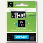 Dymo D1 Etikettenband, 12 mm x 7 m, weiß auf schwarz, S0720610