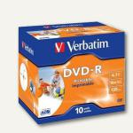 Verbatim DVD-R, 4, 7 GB, 16x, printable, im Jewel Case, 10 Stück, 43521