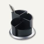 """Helit Serie """" Silver"""" Multiköcher mit Fußteil, drehbar, silber/schwarz, H62205.99"""