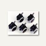 Topstar Hartbodenrollen für Büro-Drehstühle, Stift: 10 mm, schwarz, 5 Stück, 6991