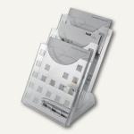 Helit Tisch-Prospekthalter, 3 Fächer DIN A4 hoch, Polystyrol, glasklar, H6102702