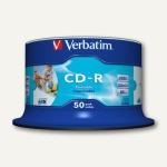 Verbatim CD-R Rohlinge AZO, 700 MB, 52x Speed, bedruckbar, 50er Spindel, 43438