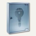 Schlüsselschrank, 270 x 350 x 80 mm, 20 Haken, Stahlblech mit Glastür, 878