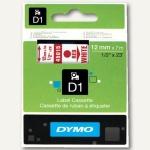Dymo D1 Etikettenband, 12 mm x 7 m, rot auf weiß, S0720550