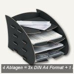 """Fellowes """" Earth"""" Briefkorb m. mehreren Ablagen, 3x DIN A4 +1, schwarz, 8010601"""
