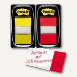 Post-it Index Standard Haftnotizen, 25.4 x 43.2 mm, gelb/rot, 2er Pack, I680-RY2
