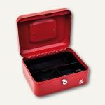 officio Geldkassette mit Münzeinlage, 3 Fächer, 20 x 9 x 16 cm, rot