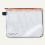 Reißverschluss-Beutel, DIN A6, PVC/faserverstärkt, transparent/orange, 50 Stück