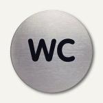 """Durable Edelstahl-Piktogramm """" WC"""", Ø 83 mm, 2 Stück, 4907-23"""